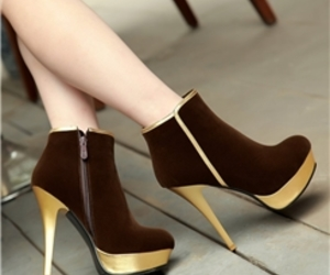 for women, brown boot, and high heel boot image