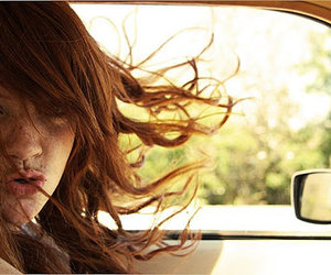 driving, freckles, and red hair image