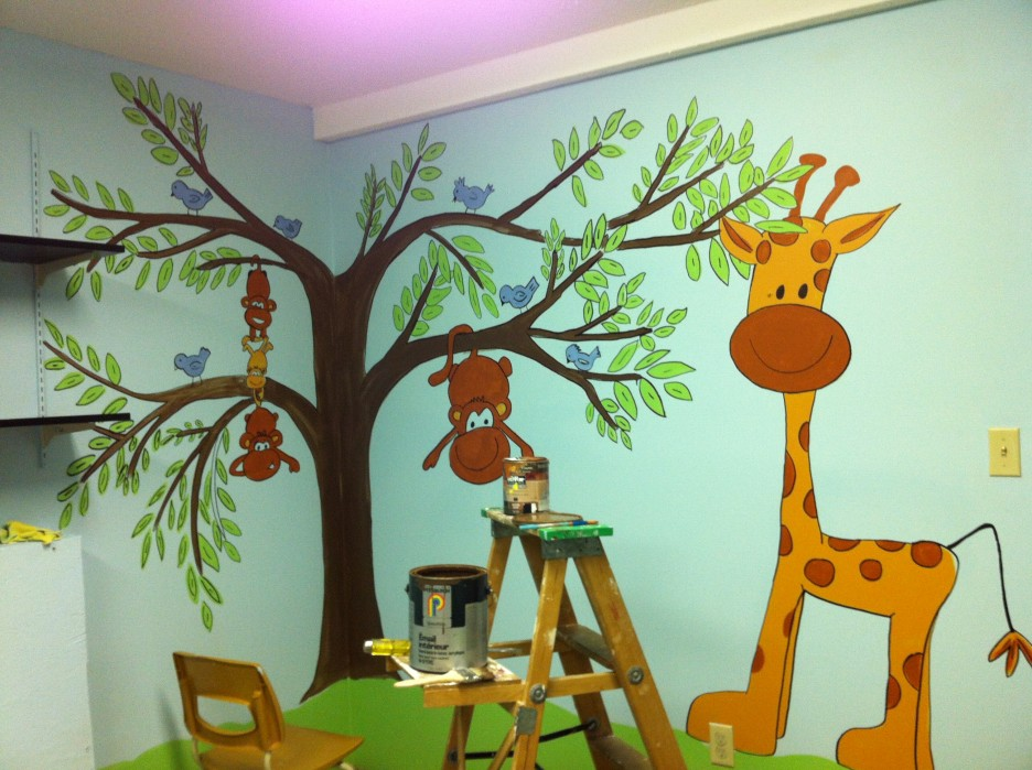 Intriguing Wall Painting Idea Lied In Corner Area Of Great Nursery Decorating Ideas Equipped With Blue Room E