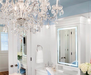 white, blue, and room image