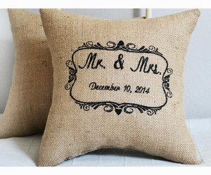 wedding pillow, personalized pillow, and anniversary pillow image