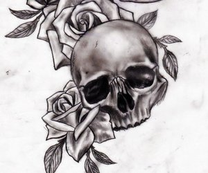 roses, skull, and tattoo image