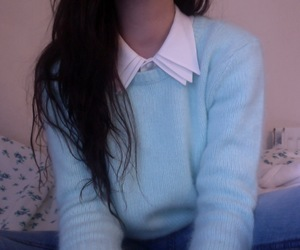 girl, pale, and blue image