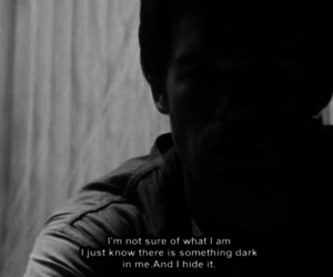 Dexter, black and white, and text image