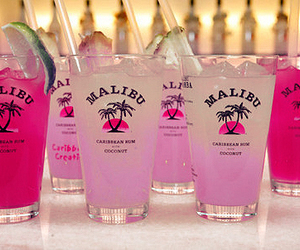 malibu, drink, and pink image