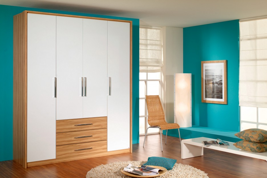 Creative Color Combination Of Kids Wardrobes With White And Brown Wardrobe Unit Finished Blue Wall Painting Idea