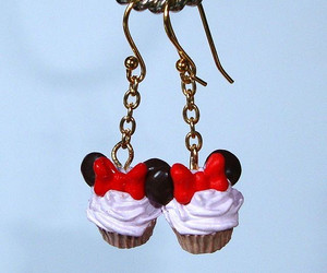 cupcake, earrings, and minnie mouse image