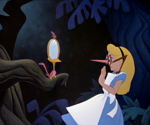 alice in wonderland, disney, and mirror image