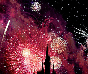 fireworks, disney, and pink image