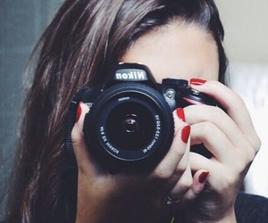 beauty, brunette, and camera image