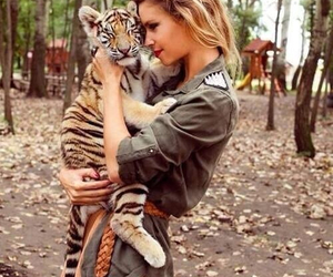 tiger, girl, and animal image