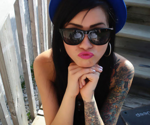 girl, tattoo, and sunglasses image