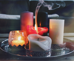 candle, fire, and smoke image