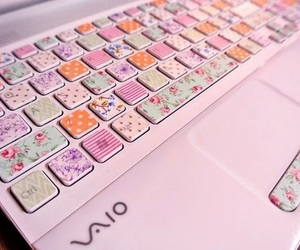 laptop, pink, and flowers image