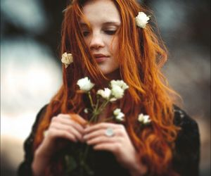 flowers, freckles, and redhead image