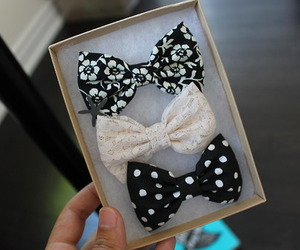 bow, hair, and black image