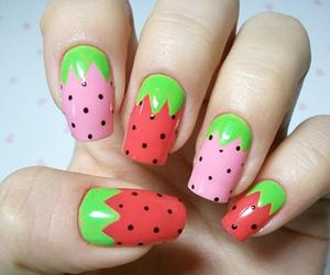 nails, strawberry, and nail art image