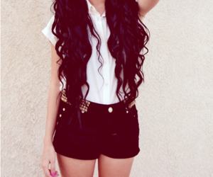 hair, black, and shorts image