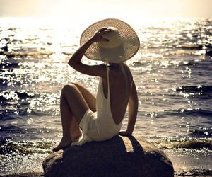 beach, hat, and summer image