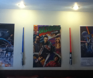 lightsaber, room, and poster image