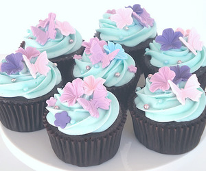 cupcake, blue, and butterfly image
