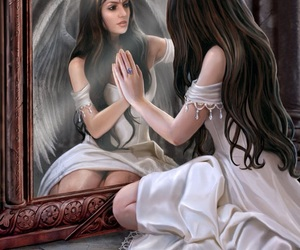 angel, drawing, and mystical image