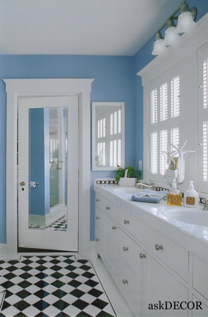 Adorable Light Blue Wall Colorful Kids Bathroom With White Dual Vanities And Black White Floor Lokeyou