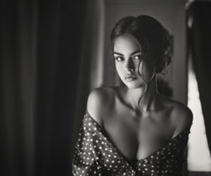 black and white, beauty, and model image