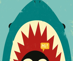 penguin, shark, and wallpaper image