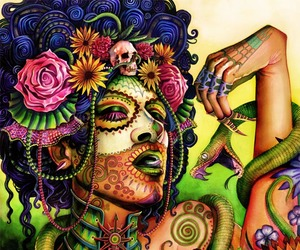 kitsch, mexican day of the dead, and sugar skull lady image