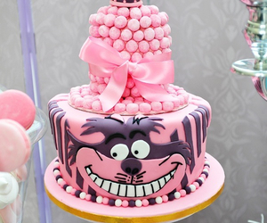 pink, alice in wonderland, and cake image