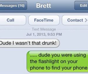 drunk, iphone, and text message image