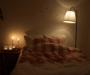 bedroom, lights, and candles image