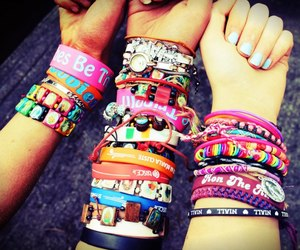 best friends, bracelets, and colourful image