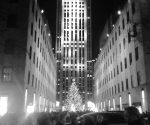 black and white, new york, and rockefeller center image