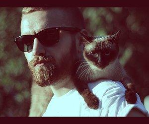 beard, cat, and boy image