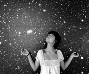 butterfly, galaxy, and girl image