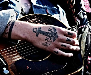 tattoo, guitar, and never shout never image