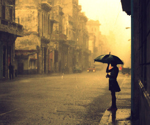 rain, umbrella, and city image