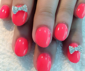 nails, pretty, and bow image