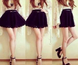 black shoes, girl, and black skirt image