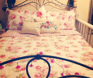 bedding, flowers, and cushions image