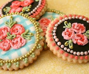 Cookies, flowers, and vintage image