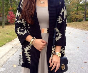 outfit, cardigan, and dress image