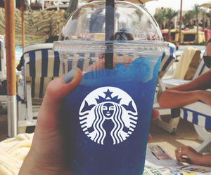 starbucks, blue, and summer image