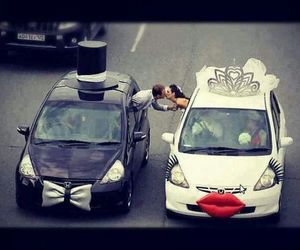 love, car, and wedding image
