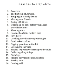 happy, list, and reasons to stay alive image