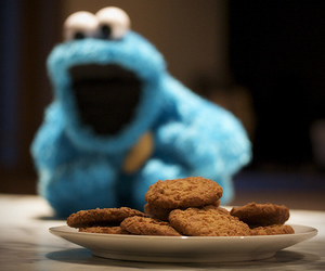 blue, cookie monster, and Cookies image