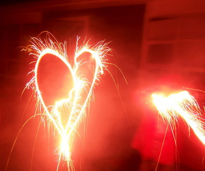 fireworks, heart, and red image