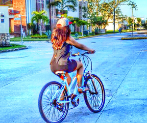 beauty, bicycle, and cap image